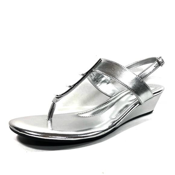 3ac210d04bae Women s Comfort Plus Silver Low Wedge Heel